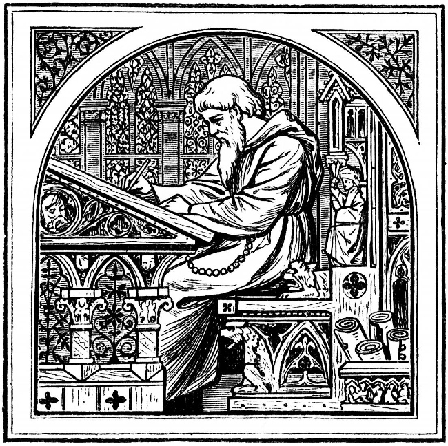Medieval image of man at writing desk.