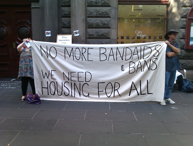 No more bandaids & bans: We need housing for all! Photo CC BY Katherine Phelps 2017 March 03