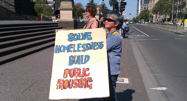 Public housing rally at Victorian Parliament April 2017