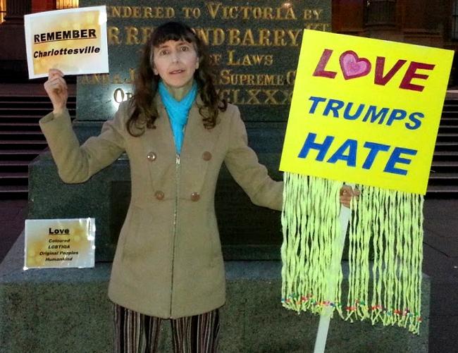 Katherine Phelps at Charlottesville Vigil