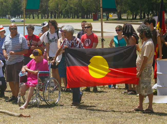 Invasion Day protest at the Aboriginal Tent Embassy in Canberra.